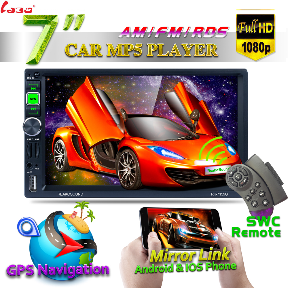 2 Din Car Multimedia Player+GPS Navigation+SWC Function 7'' HD Touch Screen Bluetooth Autoradio MP3 MP5 Video Stereo Radio car mp5 player with rearview camera gps navigation 7 inch touch screen bluetooth audio stereo fm function remote control