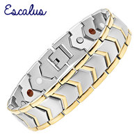 2015 Men 4in1 Magnets Negative Ions Germanium Far Infar Red Stainless Steel Bracelet Gold Jewelry Free