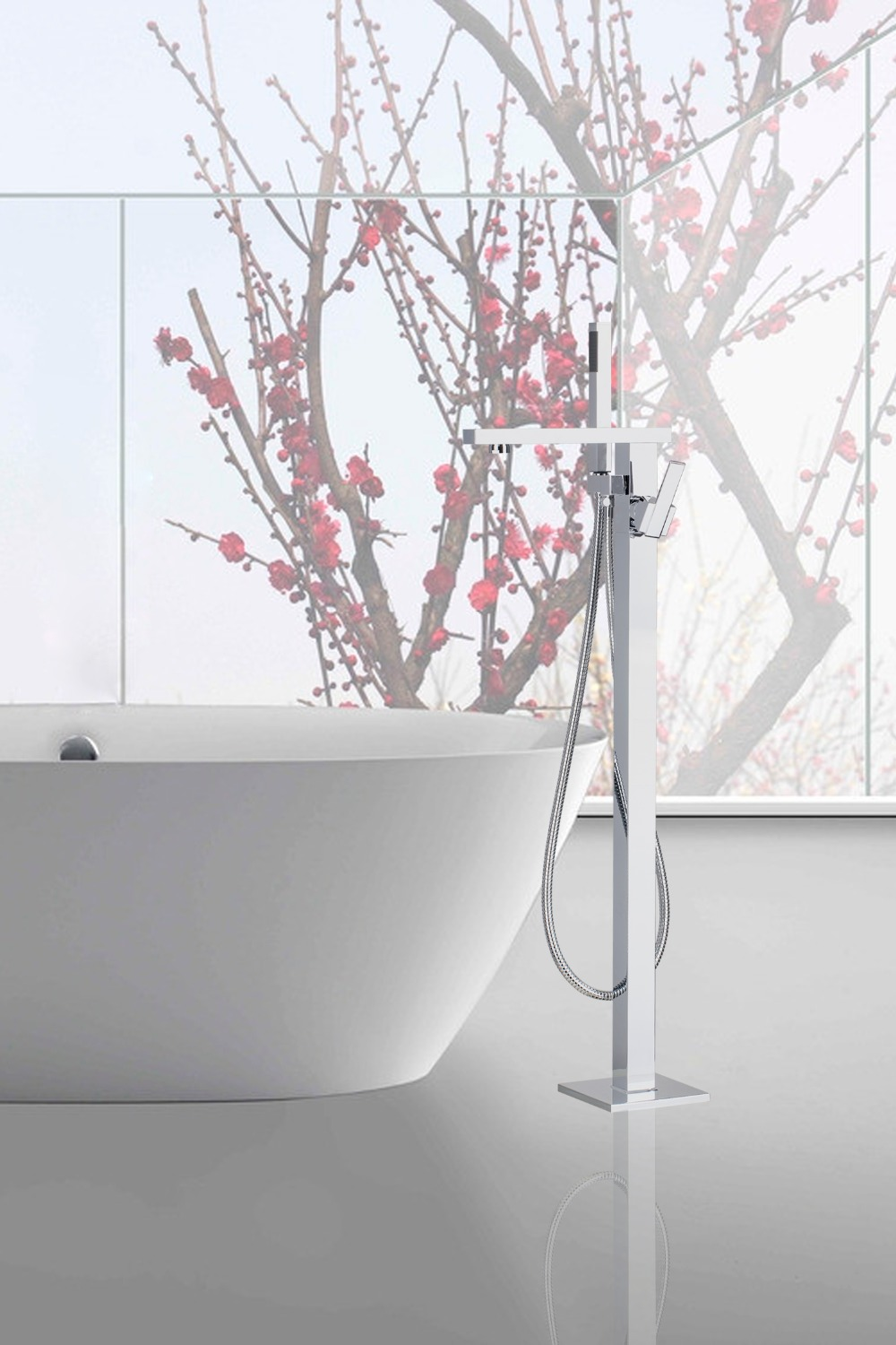 OUBONI Luxury Chrome Polish Waterfall Shower Faucet Set Free Standing Tub Mixer Tap with Handheld Shower Floor Mounted