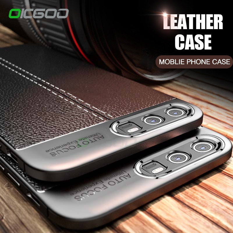 OICGOO Luxury Silm Phone Case For Huawei Honor 10 9 8 lite V10 P20 Pro Cases Leather Fiber Cover For Huawei P20 Lite P20 Case