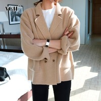 VGH Knitted Female Cardigan Double Breasted Turn Down Collar Sweater Woman With Pockets Long Sleeve Clothing