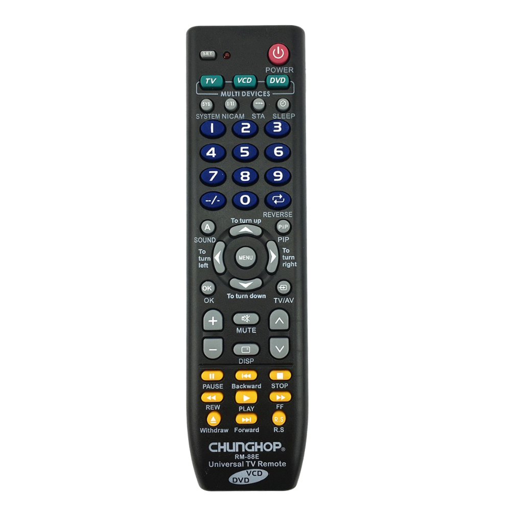 CHUNGHOP Universal Remote Control 1PCS RM-88E TV/VCD/DVD 3 in 1 USE FOR SONY SAMSUNG TOSHIBA PANASONIC SANYO SHARP LG AIWA 3D