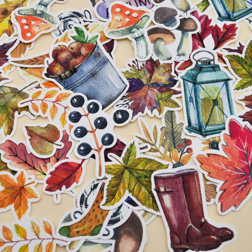 49pcs Watercolor Beauty Autumn Leaf Sticker /leaves Decoration Notebook Planner Dairy /DIY Very Thin Paper