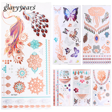 6 Pieces Fake Metallic Tattoo Temporary Body Art Sticker Wolf Elephant Butterfly Style Flash Tattoo Waterproof Decal Unique Gift