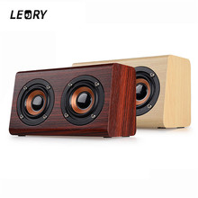 LEORY W7 Wireless Bluetooth Speaker Portable Retro Wood Dual Loudspeaker 1500mAh Subwoofer 3.5mm USB Charging Speaker