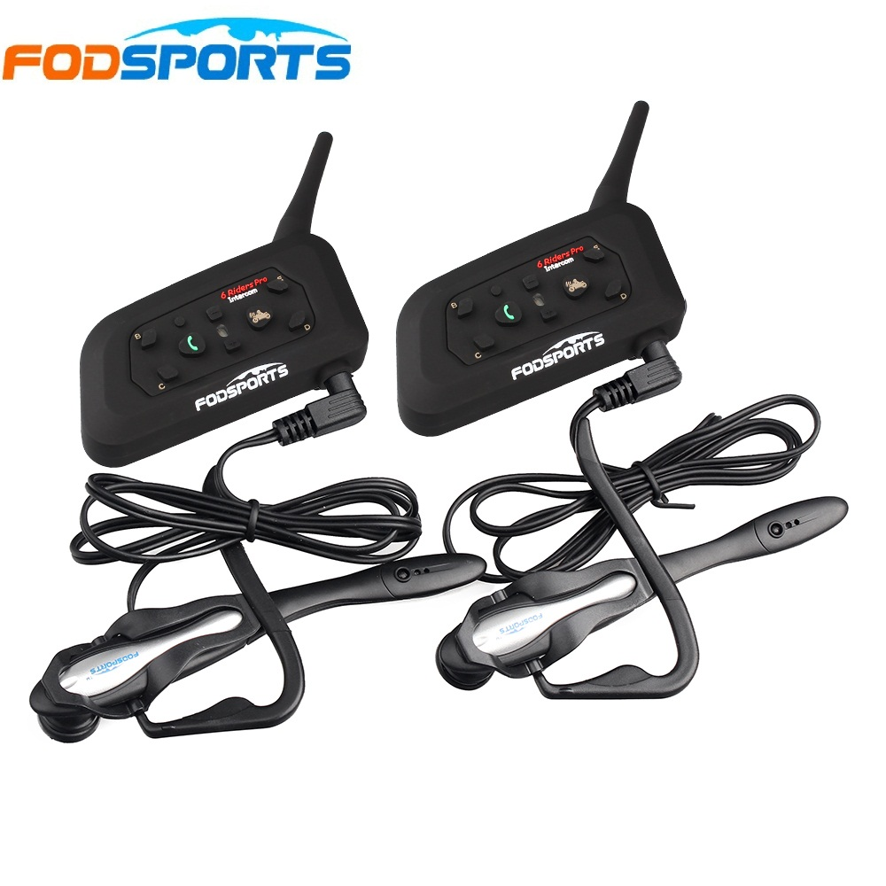 2 pezzi V6 Pro BT Interphone auricolare Bluetooth senza fili Intercom Suit per il calcio Arbitro Giudice Biciclette Conferenza musica stereo