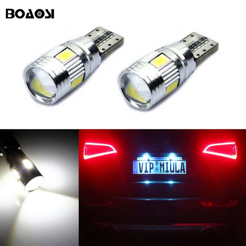 BOAOSI For Toyota Peugeot Opel Mazda 3 Axela 6 cx-5 ATENZ Car Accessories No Error T10 5630SMD LED License plate Lights 2pcs
