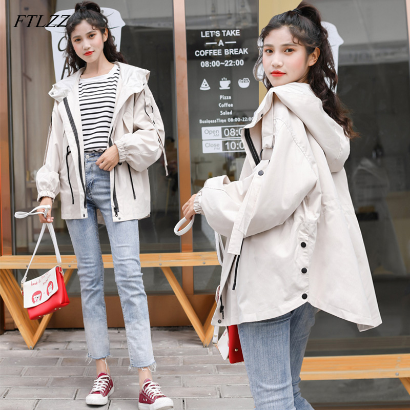 FTLZZ New Spring Women Hooded   Trench   Coat Sash Tie Up Slim Windbreaker Coats Female Clothing Outerwear Tops