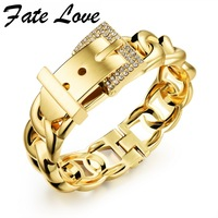 Punk Women Jewelry Smooth Simply Girl Bracelet 18K Gold Plated 18mm Wide Bracelet Crystal Paved Clasps