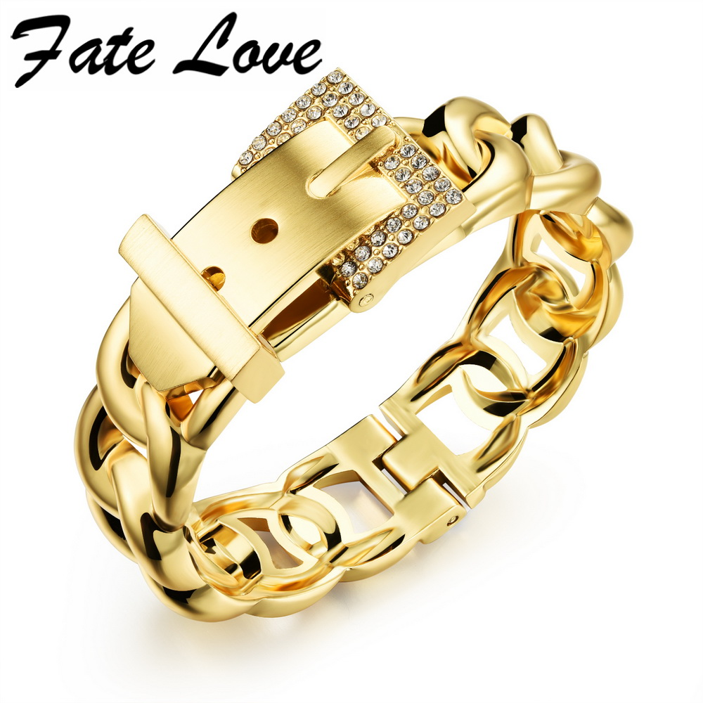 Fate Love Punk Women Jewelry Smooth Simply Girl Bracelet Gold Plated 18mm Wide Bracelet Crystal Paved