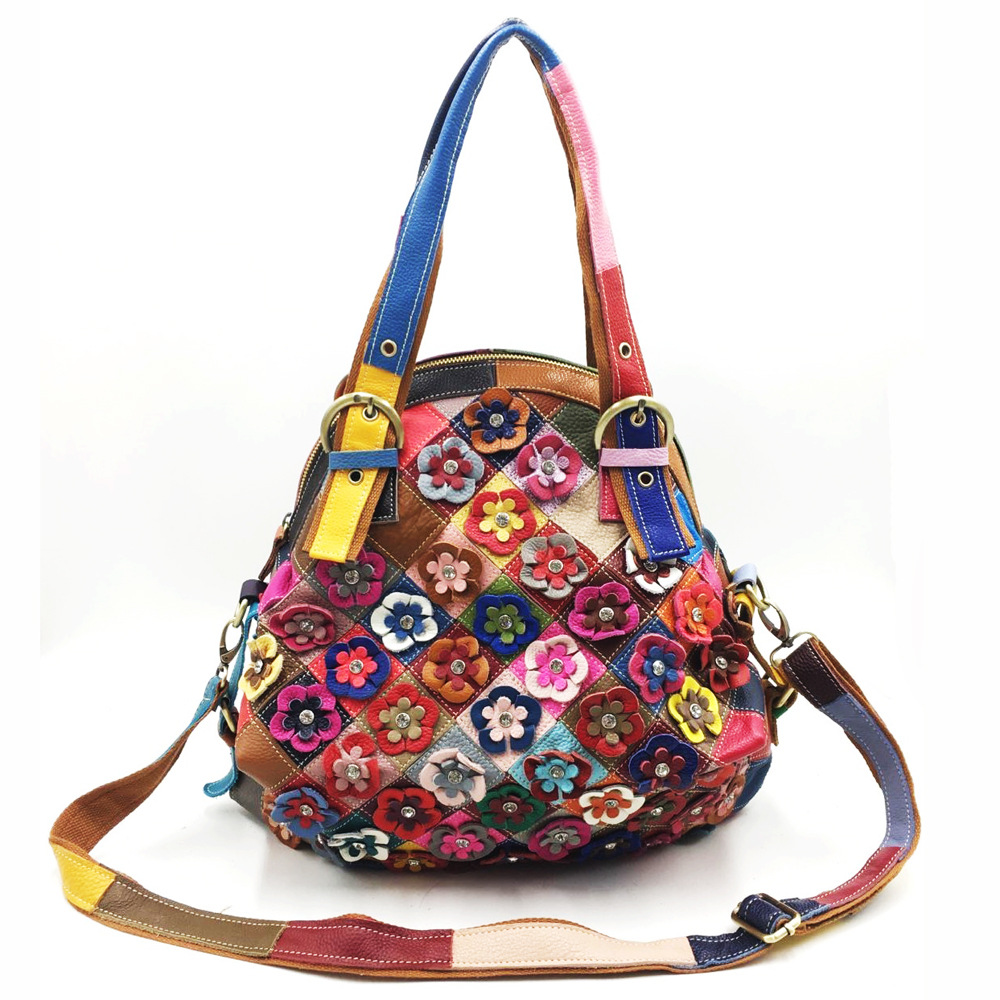 Genuine Leather Slouch Bag For Women 2019 Fashion Casual Floral Patchwork Crossbody Bag For Women Lady Leisure Real Leather Bag