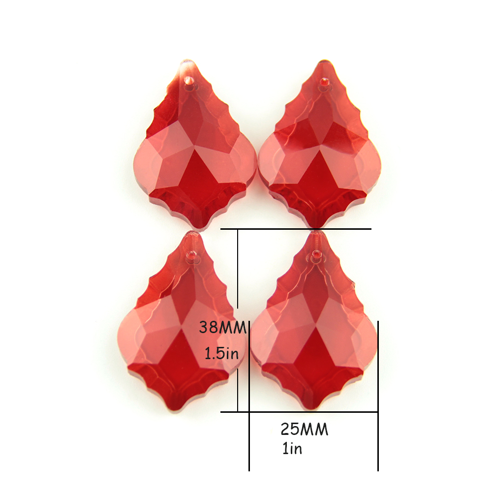 10pcs/Lot Chandelier Crystal Pendants Glass Wedding Decoration Red Maple Leaf Crystal Pendant Free Shipping