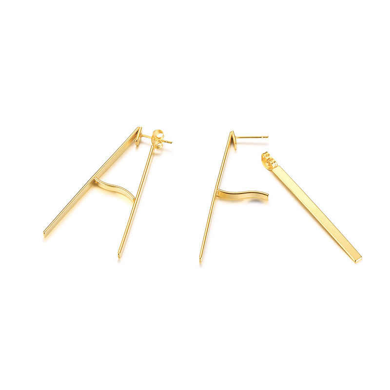 2019 hot new fashion trend big earrings stainless steel earrings simple metal wind letter A-shaped earrings ladies gift VE789