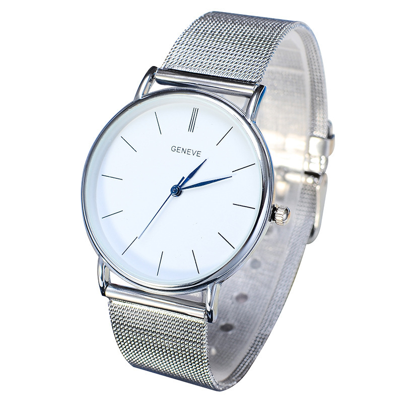 45f5c81db Silver/Gold Color Metal Iron Net Watches Man Fashion Simple Quartz Wrist Watch  Women Dress Unisex Clock watches 10500#-in Women's Watches from Watches on  ...