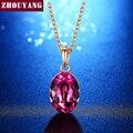 Oliva púrpura Oro Pated Oval de Cristal Austriaco Collar Colgante Para Las Mujeres Del Banquete de Boda Regalo de Cumpleaños ZYN513 ZYN535 2016 nuevo