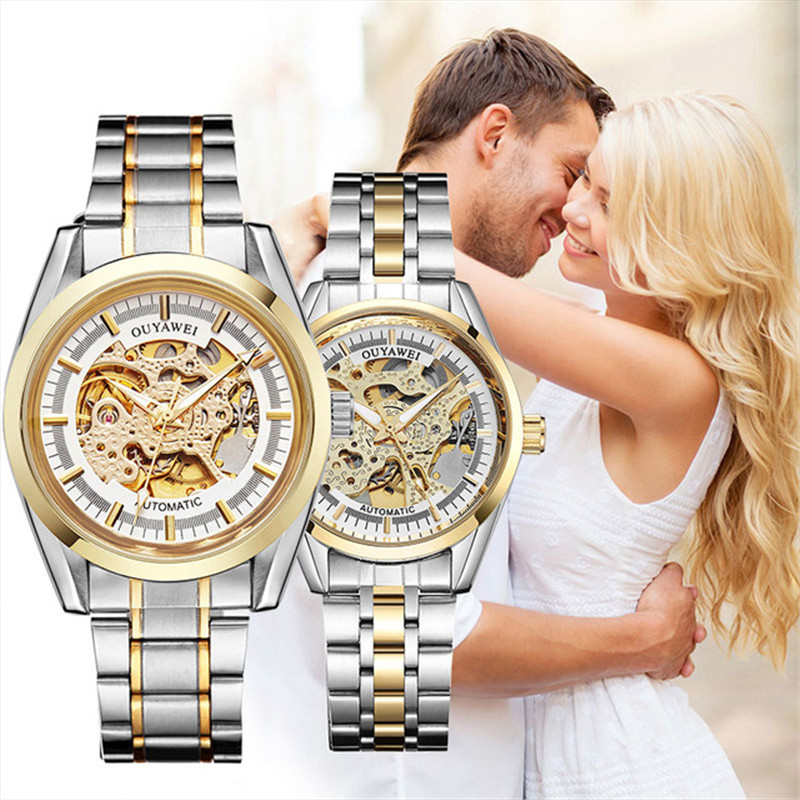 Lover's Watches Couple Automatic Mechanical Watch Fashion Casual Stainless Steel Gold Skeleton Wristwatch OUYAWEI Brand