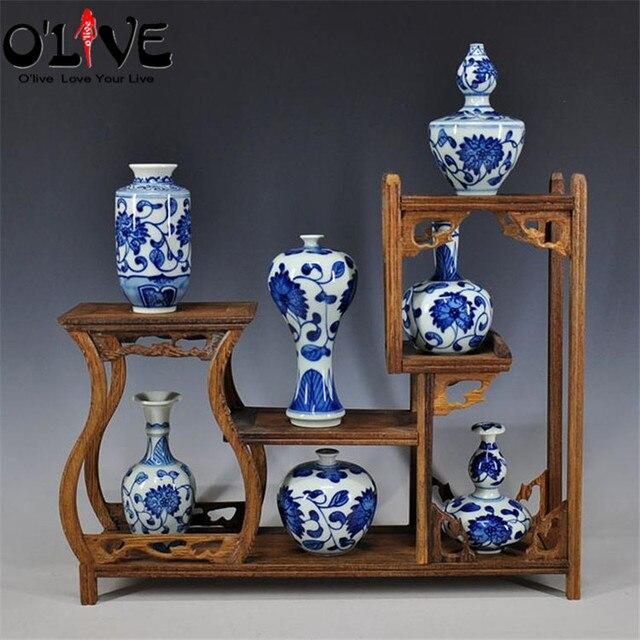 Mini Antique Vases Decoration Chinese Ceramic Blue White Flower Vase