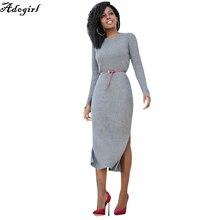 Adogirl зимние платья для Для женщин Европейский Стиль Для женщин Осенние наряды бордовый с длинными рукавами высокий разрез платье в рубчик