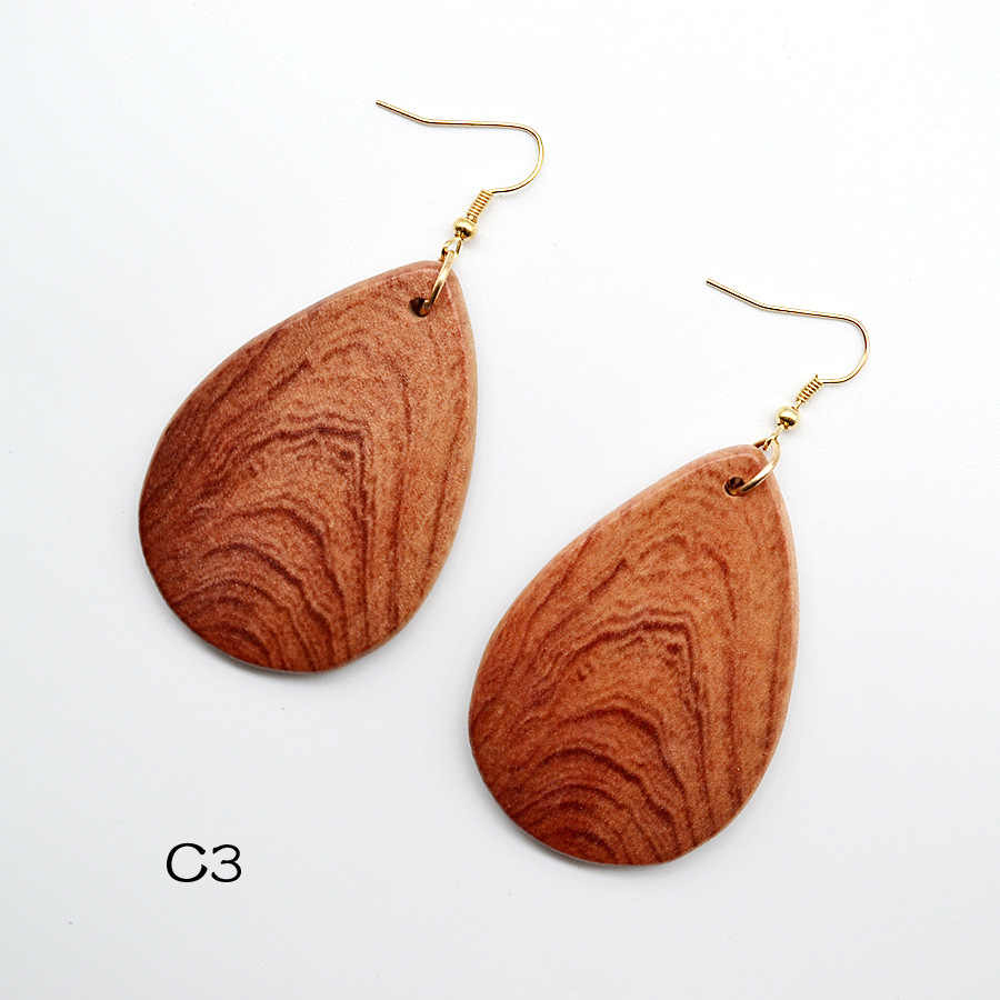 YULUCH 2018 Personality Fashion Woman Drop-like Gradient Wood Pattern Wooden Pendant Jewelry Earrings Party Gift