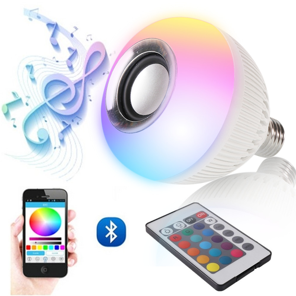 RGB Wireless Bluetooth Speaker Bulb Music Playing Energy Saving RGB Soptlight E27 LED Light Lamp With