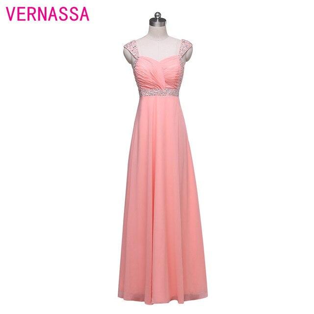 2017 Nuevo Diseño Especial Pink Gasa Largo Vestido de Fiesta Vestido ...