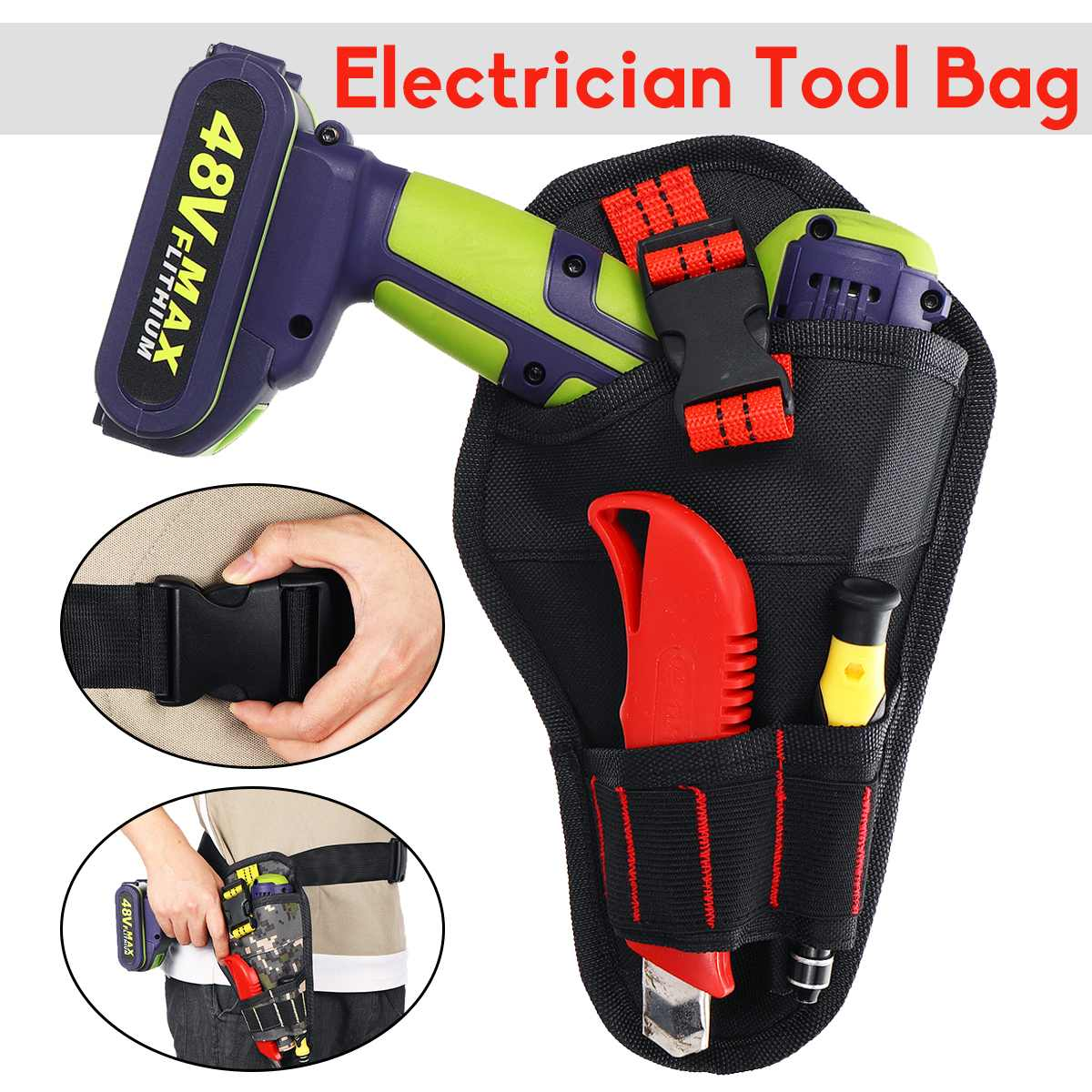 Electrician Tool Bag Multi-functional Wrench Cordless Electric Hand Drill Holder Tool Belt Pouch Oxford Waist Storage Bag