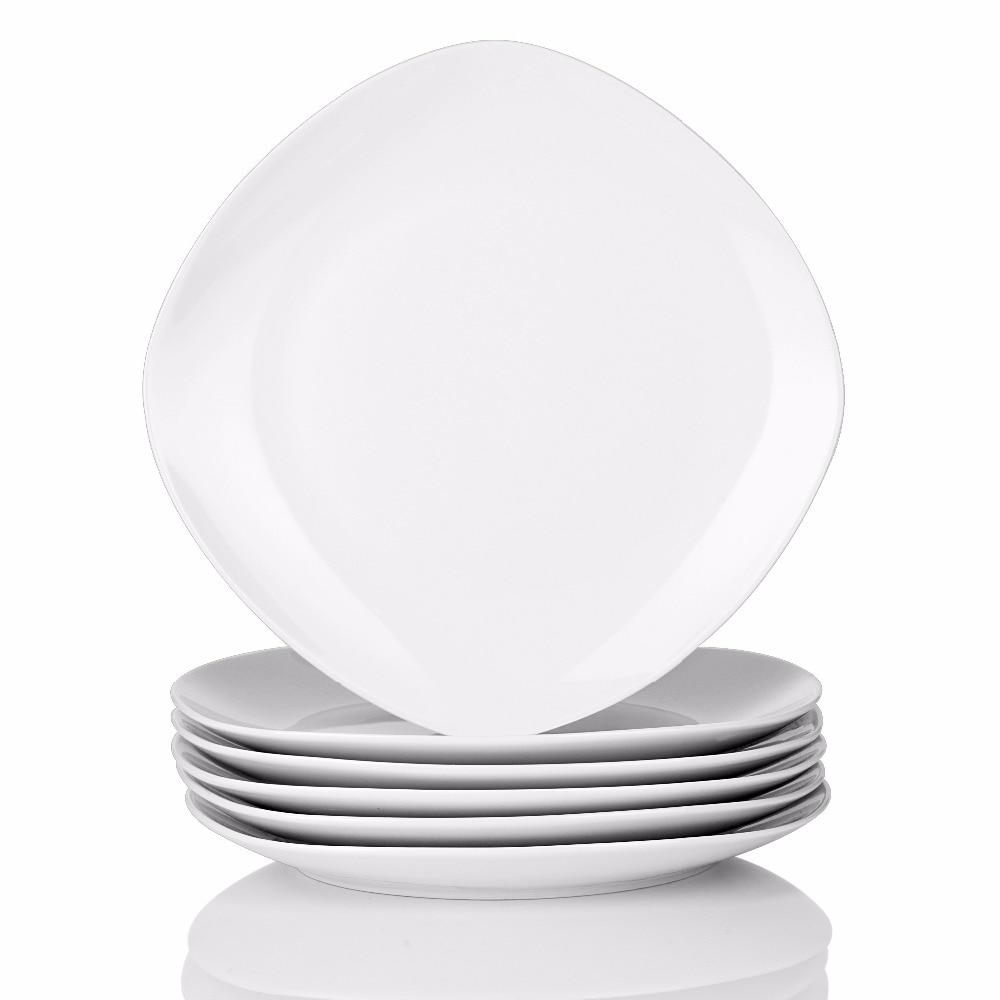 MALACASA, Series Elisa, 6 Piece 9.75 Ceramic Round Plate Set Porcelain Dinner Plate Dishes Dinnerware Tableware Service