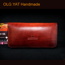 OLG.YAT handmade wallet mens purse long zipper handbag Italian vegetable tanned leather handbags cowhide wallets retro bags men