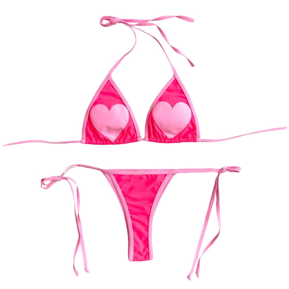 Womens <font><b>Sexy</b></font> Two Piece <font><b>Bikini</b></font> <font><b>Set</b></font> <font><b>Halter</b></font> Deep V-Neck Ruched Triangle Bra Color Block Pink Heart Embroidered Swimsuit <font><b>Low</b></font> Waist image