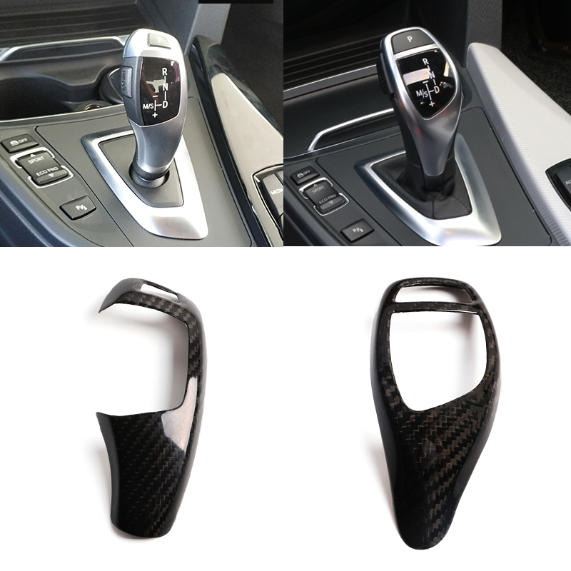 Real Carbon Fiber For BMW F20 F30 F31 F34 X5 F15 X6 F16 X3 F25 X4 F26 F10 Car Gear Shift Panel Frame Gear Knob Cover Head Trim цены