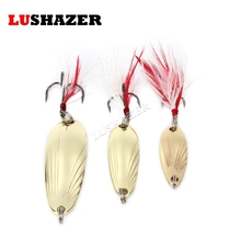 LUSHAZER fishing spoon lure metal lure silver/gold 8g 12g 14g spoon bait hard lure cheap fishing lure China fishing tackle