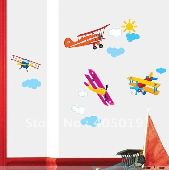 33x60cm tc962 propeller airplane wall sticker carsair for Airplane wall mural