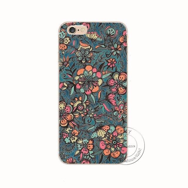 Shell pour apple iphone 5 5s se 5c 6 6 s 7 plus 6 splus retour case couverture d'impression mandala fleur datura floral cas de téléphone portable