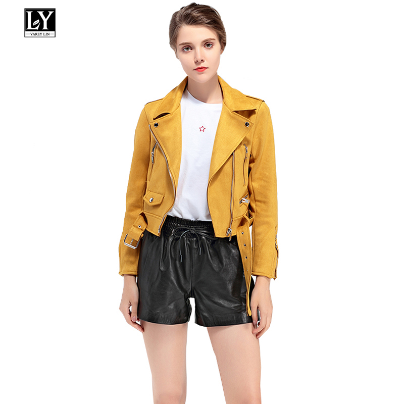 Ly Varey Lin Women Faux Soft   Leather     Suede   Jacket Coat Biker Lady Turn-down Collar Zipper Short Jacket Pink Green Yellow Coats
