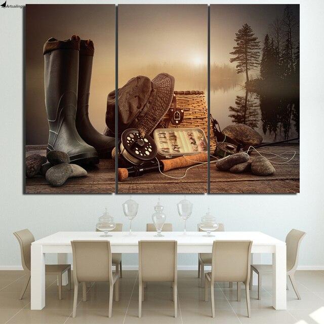 Hd Dicetak 3 Piece Kanvas Seni Memancing Alat Batang Boots Kayu Papan Lukisan Gambar Dinding Untuk