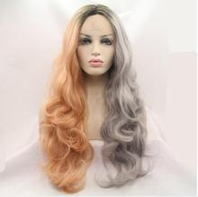 HOT!! 2017 Handmade 3 Tones Long Natural Synthetic Lace Front Wigs orange to gray Ombre Dark Roots Women Heat Resistant Wave Wig