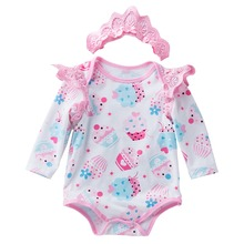 2019 Fashion Cute Baby Girls Rompers Bodysuit Long Sleeves Lace Printed Easter Girl Clothes for Newborns