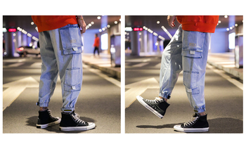 Men's Jeans Denim Trousers Cargo Combat Retro Pencil Pants Slim Fit Classic Casual Work Wear Trend Hip Hop for Young Boys