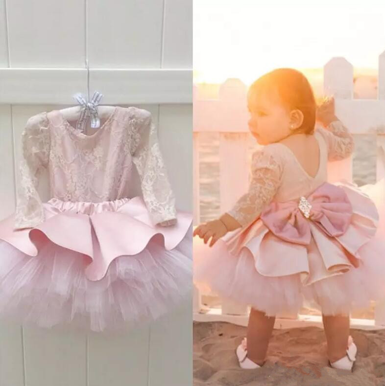 New Pink Baby Girls Birthday Dress Long Sleeve Knee Length Flower Girl Dress for Wedding Party 3 6 9 12 24month new white ivory nice spaghetti straps sequined knee length a line flower girl dress beautiful square collar birthday party gowns