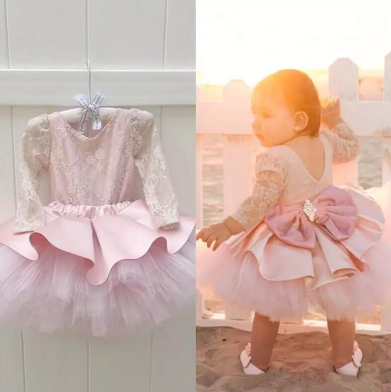 New Pink Baby Girls Birthday Dress Long Sleeve Knee Length Flower Girl Dress for Wedding Party 3 6 9 12 24month high neck long sleeve knee length tight dress