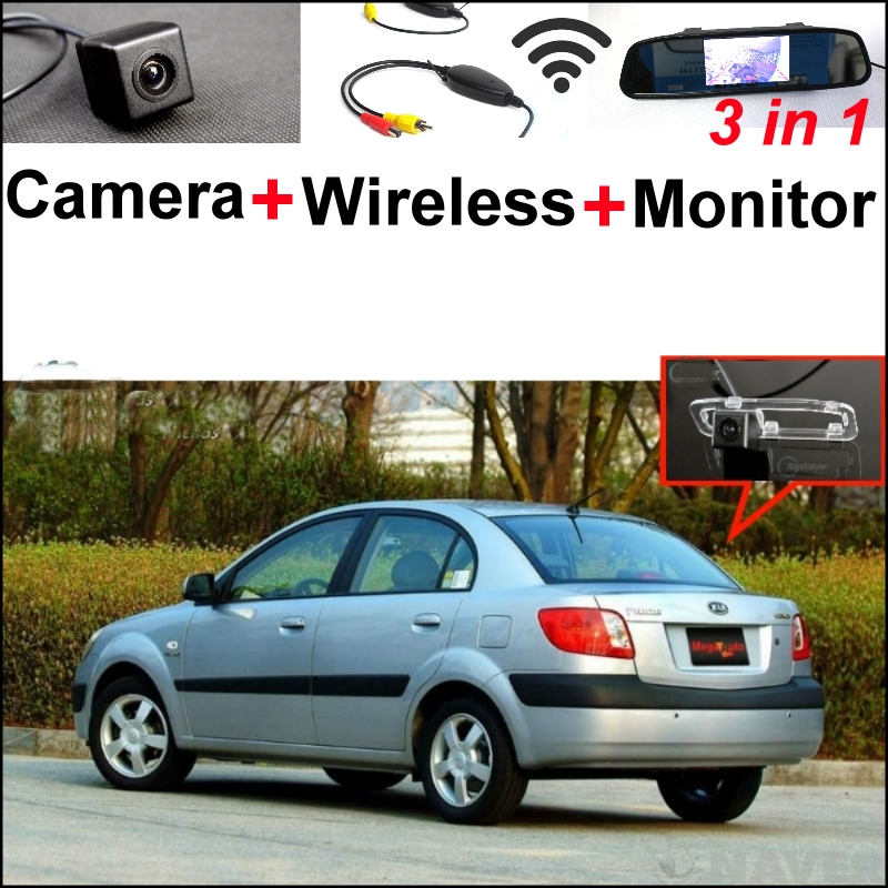3 in1 Special Camera + Wireless Receiver + Mirror Monitor Easy Back Up Parking System For KIA New Pride Sephia Sport 2005~2011 wireless pager system 433 92mhz wireless restaurant table buzzer with monitor and watch receiver 3 display 42 call button