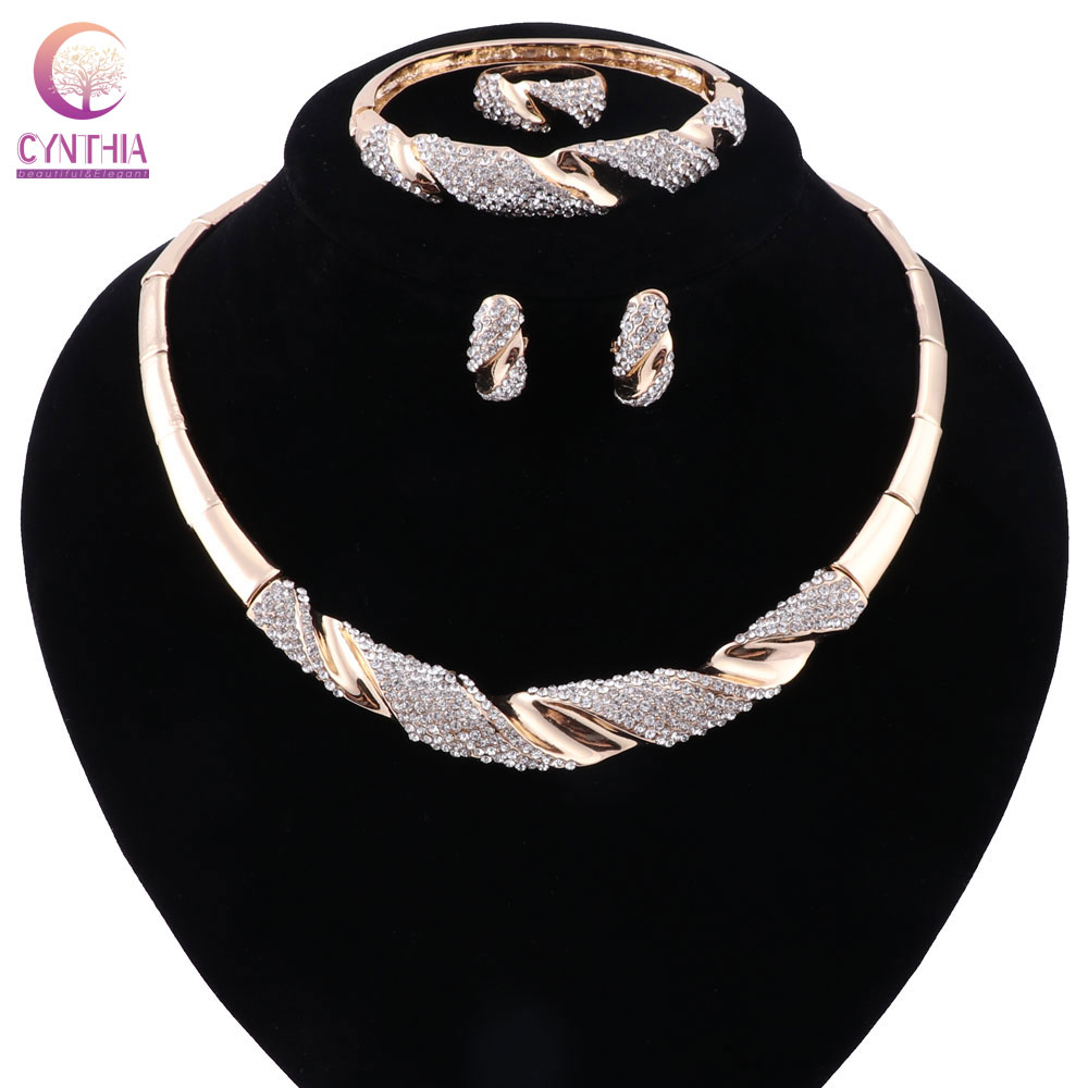 2 colors jewelry sets Gold silver plated Women statement necklace with earrings for party wedding boho