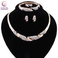 2 kolory biżuteria ustawia Złoty posrebrzane Kobiety boho kryształ naszyjnik oświadczenie naszyjnik z kolczyki na wesele 2017