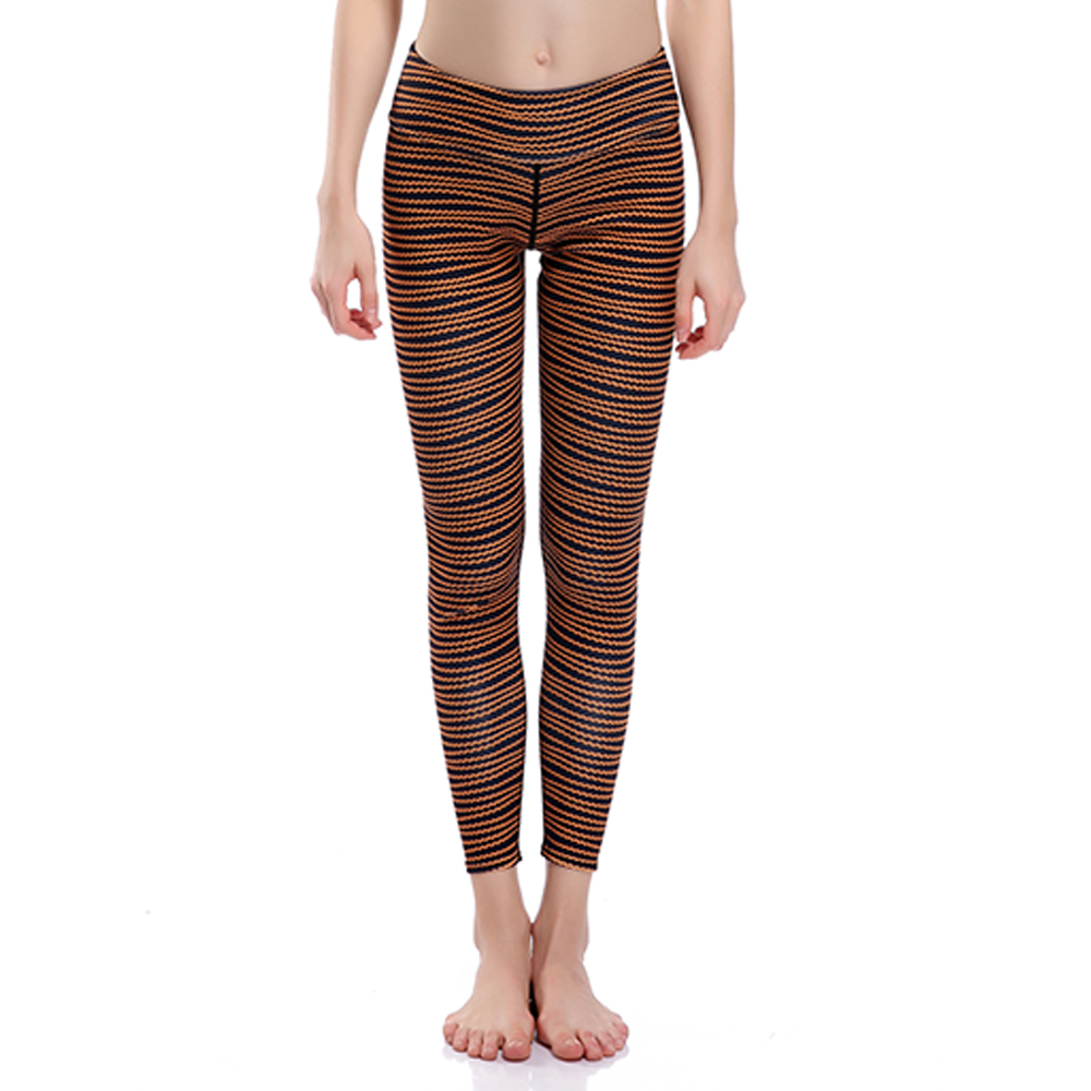 New Women Pants Brown Color Line Painted Trousers Women Fitness Elastic Pants Drop Shipping