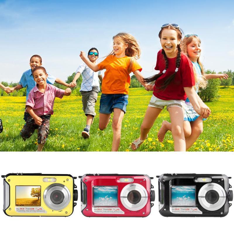 Pro jeu étanche 24MP Double écran sous-marin enfants caméra Mini caméra numérique affichage LCD caméra sous-marine étanche à la poussière - 3