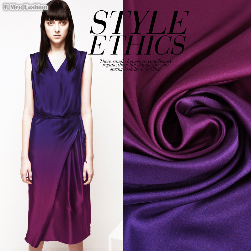 SP587 Pure Silk/Gradients,Rose Red and Purple/Silk Fabric Mulberry Silk 93% Silk 7% Spandex/Width1.29yd Thickness 19mm Unit: 1PC