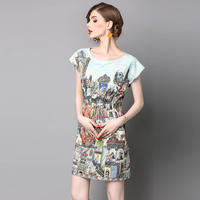 Retro Casual Printing Round Necklace Sisjuly Dresses Women High Quality Blended Summer Women S Sarafans Vestido