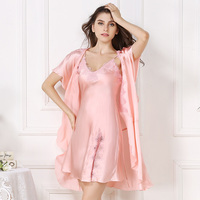 XL women silk robe&gown set summer 2017 woman fashion brand pink solid color casual sexy short sleeve 100% silk robes gown set