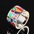 Marca de lujo de acero inoxidable Anillos para las mujeres boda joyería diseño colorido esmalte Anel aneis joyería Anillos moda regalos del partido