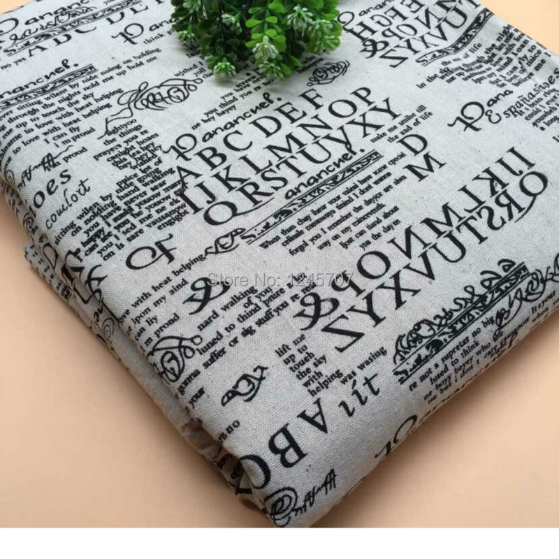 50 cm x 150 cm 100% 영어 알파벳 인쇄 된 패치 워크 코 튼 린 넨 원단 꽃 봉 제 의류 침구 퀼트 공예에 대 한-에서직물부터 홈 & 가든 의  그룹 1